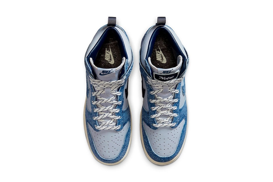 Notre x Nike Dunk High「Blue Void」绒面材质联名鞋款插图3
